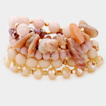 Shades Of Pink Semi Precious Bracelet Set