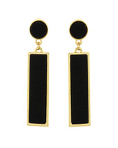 Black Leather Drop Earrings