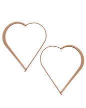 Rose Gold Heart Hoops