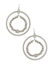 Silver Beaded Double Hoop Earrings