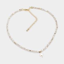 Ivory Beaded Bolt Necklace