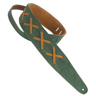 HENRY HELLER GREEN SUEDED WITH LEATHER X'S STRAP