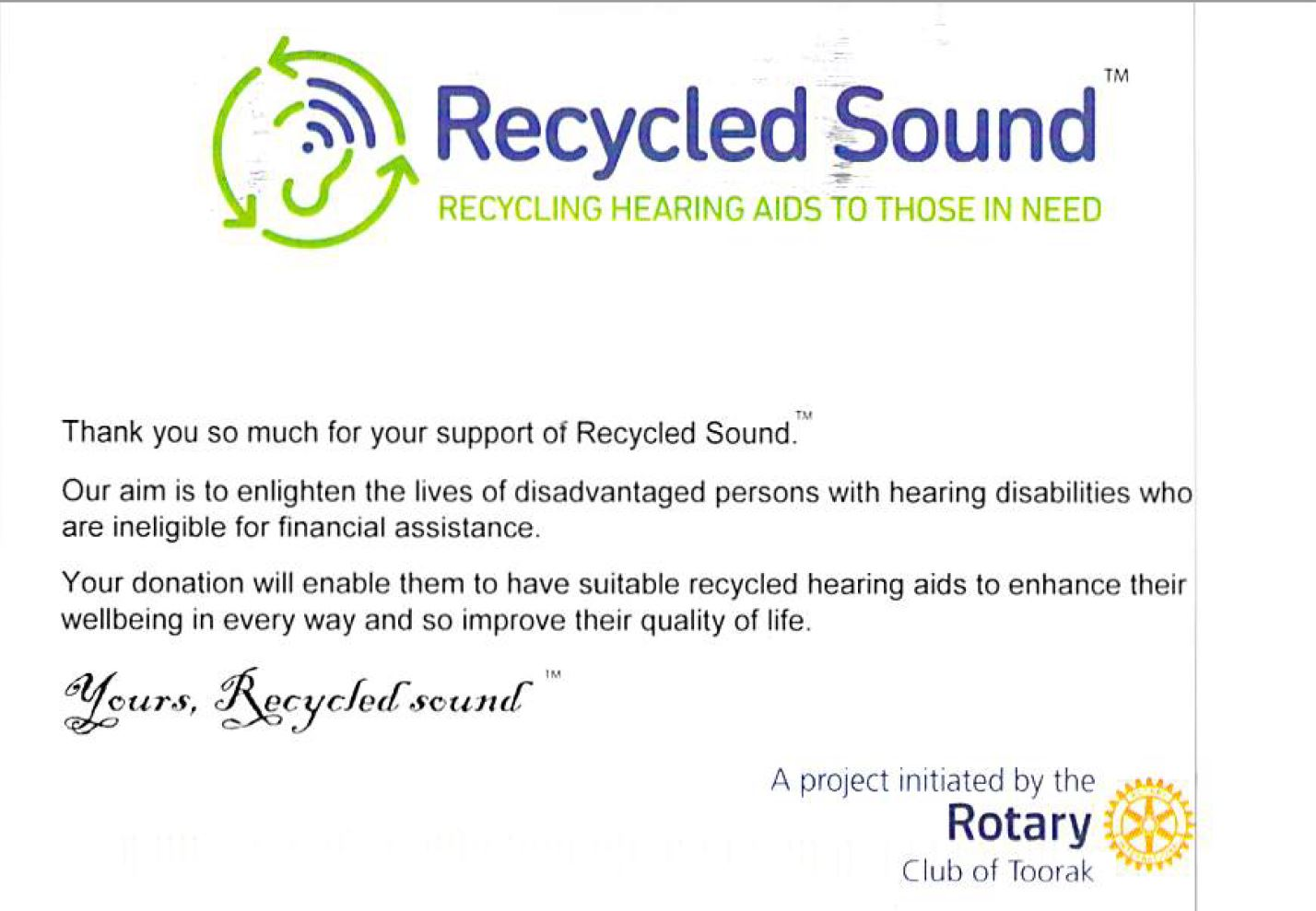 Hearing Aids Donated