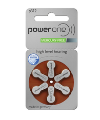 Power One hearing aid batteries size 312 mercury free