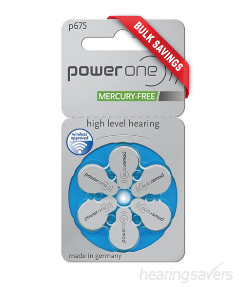 Power One hearing aid batteries size 675 mercury free