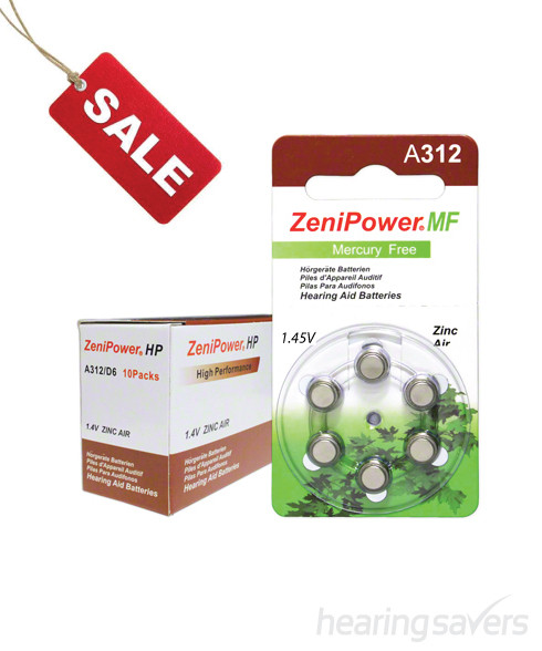 ZeniPower hearing aid batteries size 312