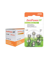 Box of ZeniPower Hearing Aid Batteries A13 (size 13) MF (60 cells)