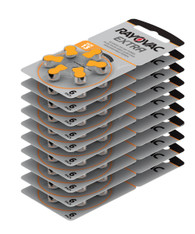 Box of Rayovac Extra Hearing Aid Batteries size 13 Pack of 60