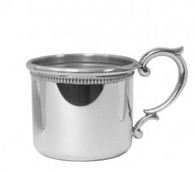 Salisbury Straight Edge Baby Cup with Scroll Handle and Beading