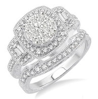 1 Ctw Diamond Lovebright Wedding Set with 3/4 Ctw Engagement Ring and 1/5 Ctw Wedding Band in 14K White Gold