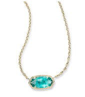 Kendra Scott Elisa Necklace Gold Tone/London Blue (December)