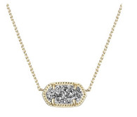Kendra Scott Elisa Necklace Gold Tone Platinum Drusy