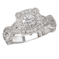 Diamond Milgrain Engagement Set