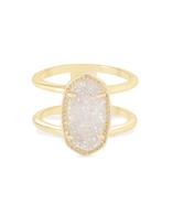 Kendra Scott Elyse Ring Gold Tone/Iridescent Drusy Size 7