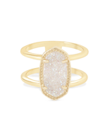 Kendra Scott Elyse Ring Gold Tone/Iridescent Drusy Size 8