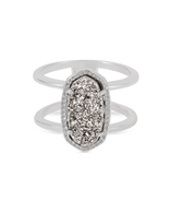 Kendra Scott Elyse Ring Rhodium/Platinum Drusy Size 7