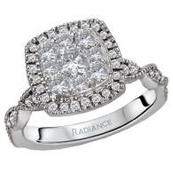 Multi-stone Cushion Cut with Halo and Diamond Twist Shank