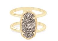 Kendra Scott Elyse Ring Gold/Platinum Drusy Size 7