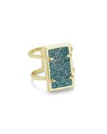 Lennox Ring Gold Tone/Aqua Drusy S/M