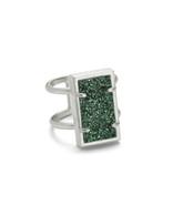 Lennox Ring Rhodium/Sage Drusy S/M