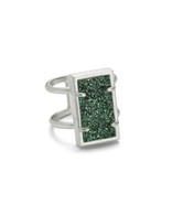 Lennox Ring Rhodium/Sage Drusy M/L