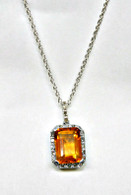 Citrine and Diamond Halo Necklace