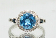 Blue Topaz Ring with Sapphire