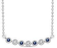 Bezel Style Blue Sapphire Stackable Necklace