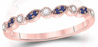Milgrain Rose Gold Sapphire Stackable Band
