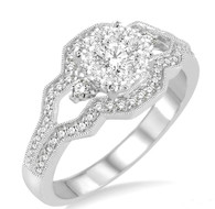 1/2 Ctw Round Cut Diamond Lovebright Ring in 14K White Gold