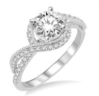 7/8 Ctw Diamond Engagement Ring with 1/2 Ct Round Cut Center Stone