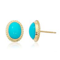 Oval Turquoise Twist Gallery Post Earrings