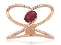 Open Ruby and Diamond Ring