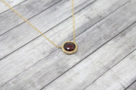 Bezel Set Garnet Necklace