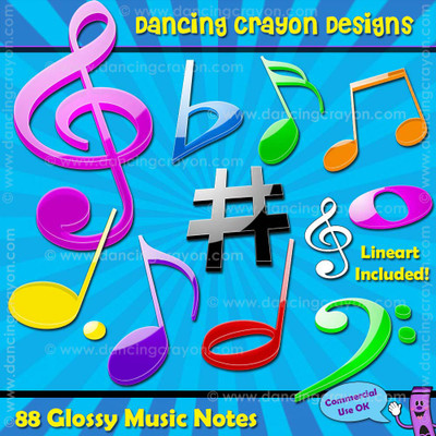 Glossy music notes clipart