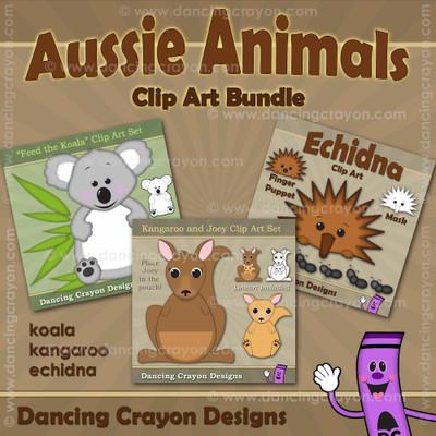 Australian animal clipart bundle: koala, kangaroo, echidna clipart