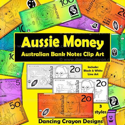 Australian money clipart: notes