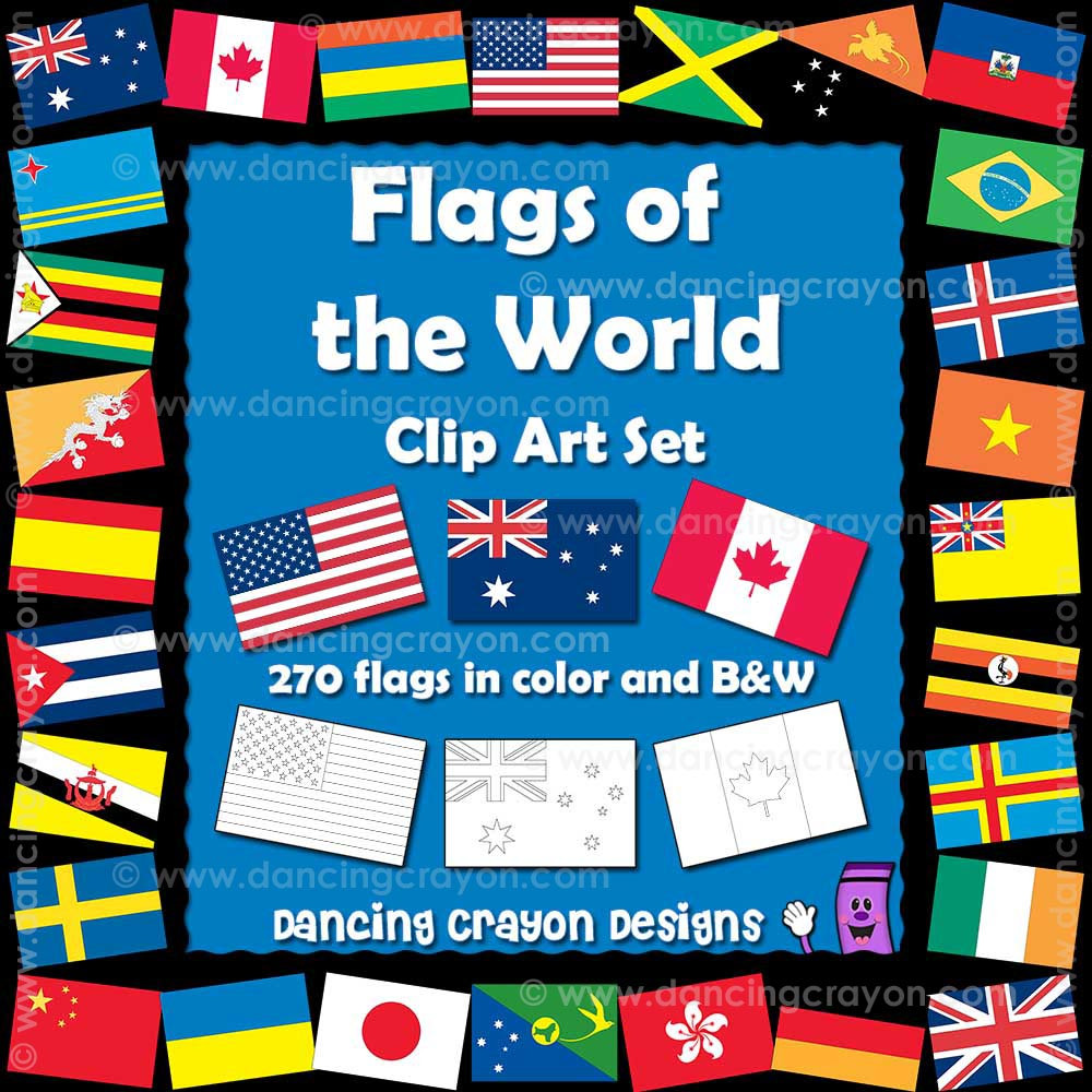 world flags clipart color and black and white line art