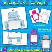 Robot clipart / robot puzzle cards / robot frames