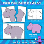Hippo clipart puzzle cards