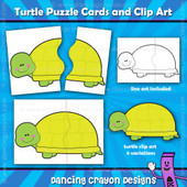 Turtle clipart and puzzle cards