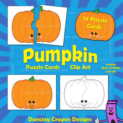 Pumpkin clipart and puzzle cards