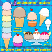 Ice cream clipart set: Create your own ice cream.