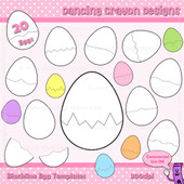 Cracked egg clipart and puzzle card templates