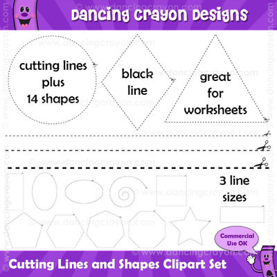 Cutting lines and scissor shapes clipart