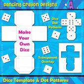 Dice Template / Blank Dice / Dice Dots Clip Art