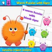 Warm Fuzzy Clipart: Warm Fuzzy with Blank Sign