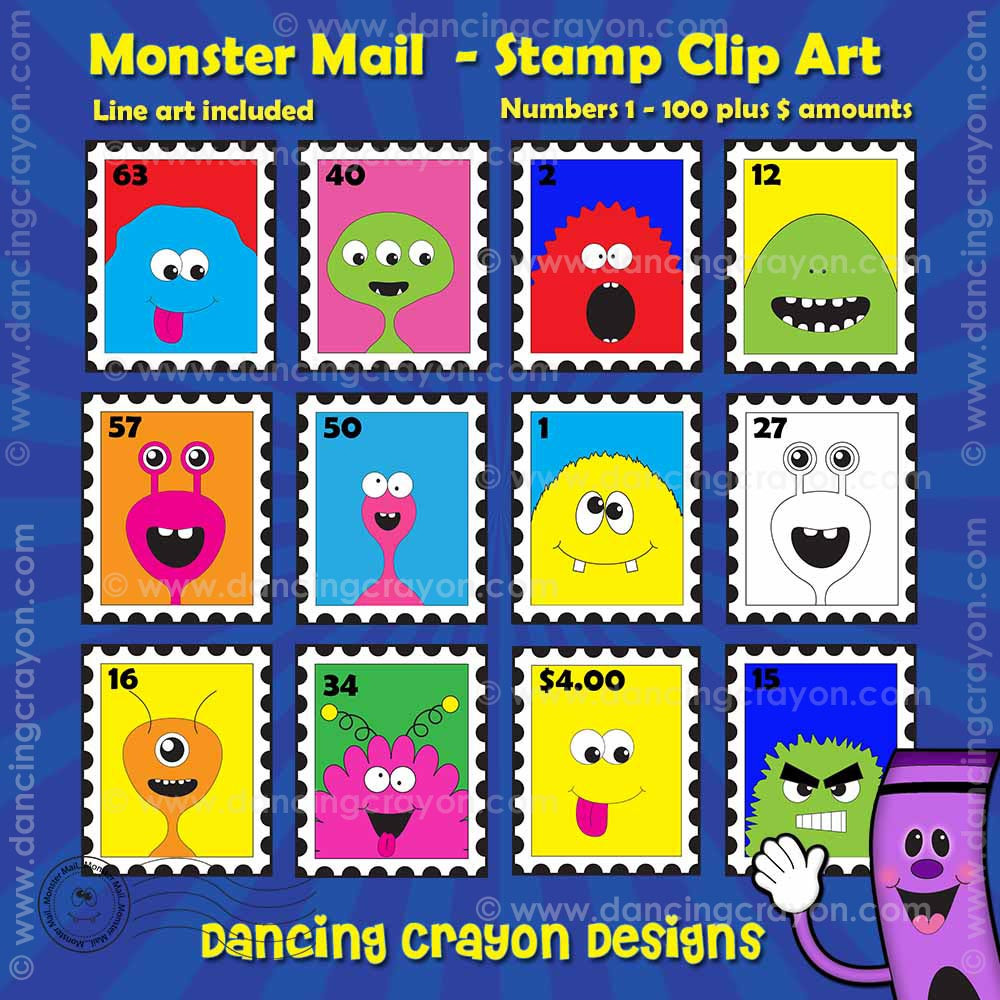 Stamps Clipart - Monster Mail Clipart Stamps