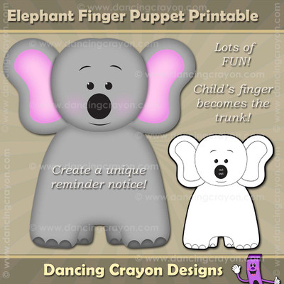 Elephant Finger Puppet / Printable