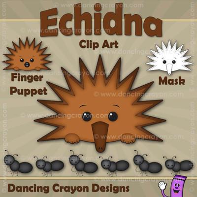 Echidna Finger Puppet / Echidna Clipart / Echidna Mask
